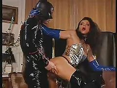 Cathy DeLargo on hard latex cock for facial