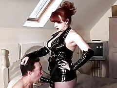 Mature Mistress Red slams her slaves asshole