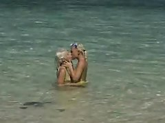 Sex Underwater and in the Beach Shore with Two Hot Blondes