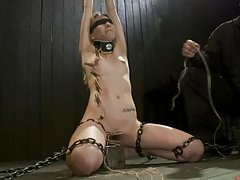 Blonde Beauty Gets Hanged and Teased By Her Master